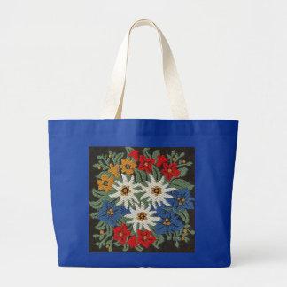 Flor alpina de Edelweiss Bolsa Tela Grande