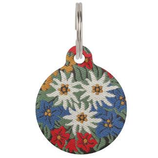 Flor alpina de Edelweiss Placa De Mascota