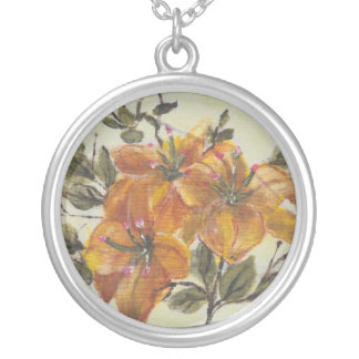 flor amarela round pendant necklace