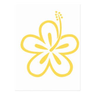 flor amarilla 20 del hibisco tarjetas postales