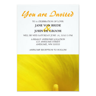 """Flor amarilla 5x7 de la cala invitación 5"""" x 7"""""""