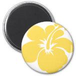 flor amarilla 6 del hibisco imán para frigorífico