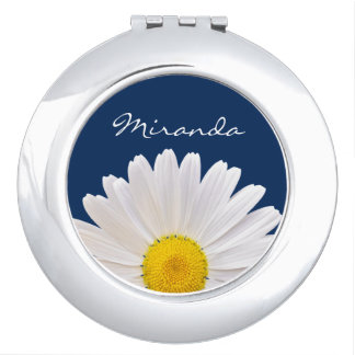Flor amarilla blanca personalizada de la margarita espejo de viaje