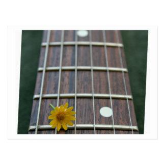 Flor amarilla bonita en fretboard bajo tarjetas postales