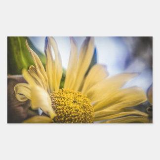 Flor amarilla brillante pegatina rectangular