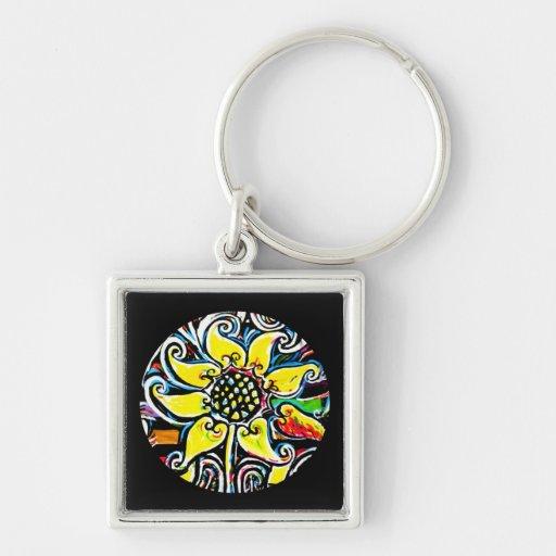 Flor amarilla circular en diseño negro del fondo llavero