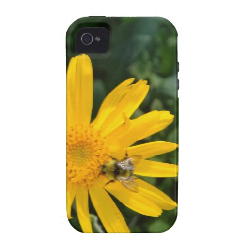 flor amarilla con la abeja iPhone 4/4S funda