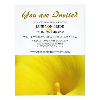 Flor amarilla de la cala invitacion personal