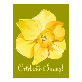 Flor amarilla de la primavera de la postales