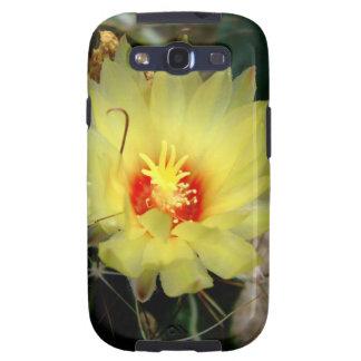 Flor amarilla del cactus del anzuelo samsung galaxy s3 fundas