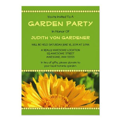 """Flor amarilla del Coreopsis de la fiesta de jardín Invitación 5"""" X 7"""""""