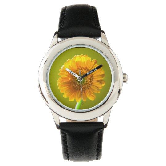 Flor amarilla del Gerbera de la margarita Reloj De Mano