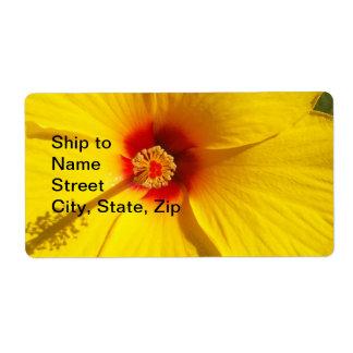 Flor amarilla del hibisco etiqueta de envío