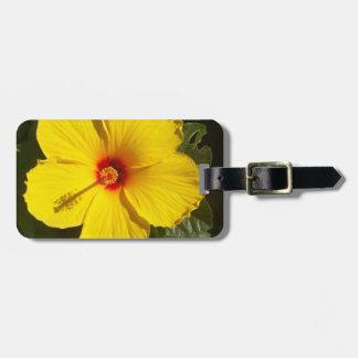 Flor amarilla del hibisco etiquetas para maletas