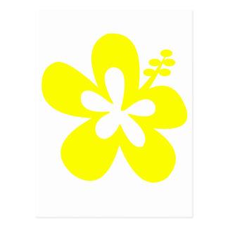 flor amarilla del hibisco tarjetas postales