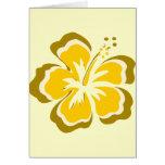 Flor amarilla del hibisco tarjetón