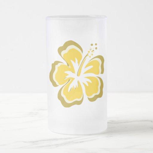 Flor amarilla del hibisco tazas