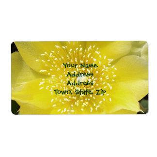 Flor amarilla del higo chumbo del cactus etiqueta de envío