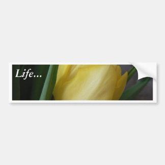 Flor amarilla del tulipán pegatina de parachoque