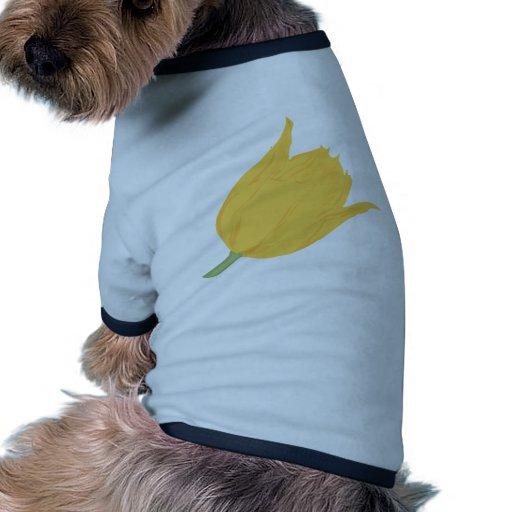flor amarilla del tulipán camiseta con mangas para perro