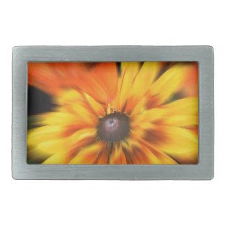 Flor amarilla mística hebillas cinturon rectangulares