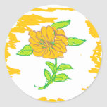 flor amarilla pegatina redonda