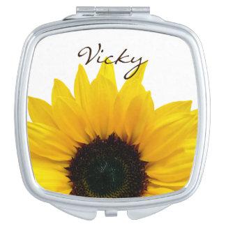 Flor amarilla personalizada del girasol floral espejo maquillaje