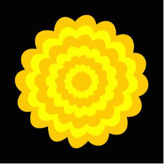 Flor amarilla soleada brillante. En negro Fotoescultura Vertical