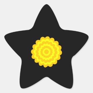 Flor amarilla soleada brillante En negro Calcomanías Forma De Estrellaes