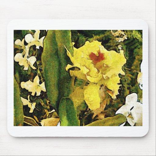Flor amarilla tropical alfombrillas de ratón