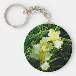 Flor amarilla y blanca del iris llavero