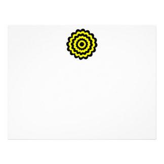 Flor amarilla y negra brillante enrrollada tarjeta publicitaria
