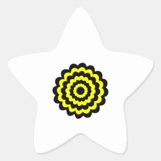 Flor amarilla y negra brillante enrrollada calcomania cuadrada personalizada