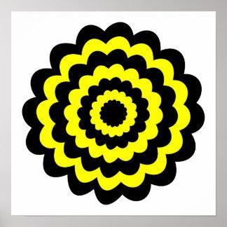 Flor amarilla y negra brillante enrrollada póster