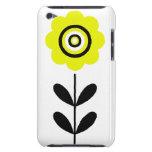 Flor amarilla y negra retra iPod Case-Mate protectores