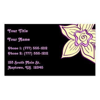 Flor amarilla y púrpura en negro tarjetas de visita