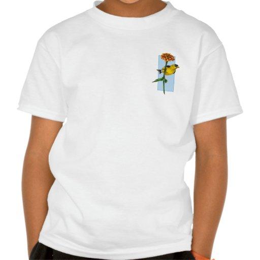 Flor americana del Goldfinch y del Zinnia Camisetas