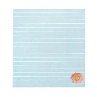 Flor anaranjada alineada azul de la acuarela de la libretas para notas