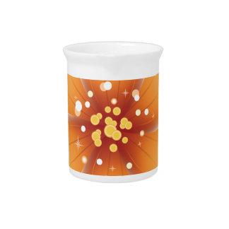 Flor anaranjada brillante jarra para bebida