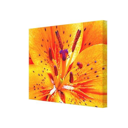 Flor anaranjada brillante impresión en lienzo estirada