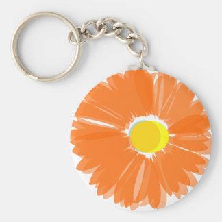 Flor anaranjada brillante llavero redondo tipo pin
