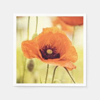 Flor anaranjada de la amapola servilletas de papel