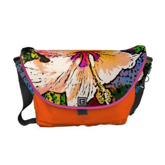 Flor anaranjada del hibisco bolsas de mensajeria