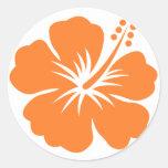Flor anaranjada del hibisco etiqueta redonda