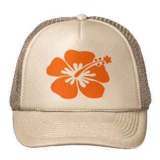 Flor anaranjada del hibisco gorras