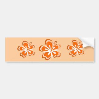 flor anaranjada del hibisco pegatina para auto