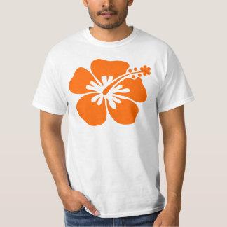 Flor anaranjada del hibisco poleras
