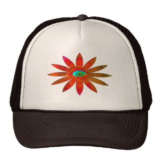 Flor anaranjada del ojo gorras