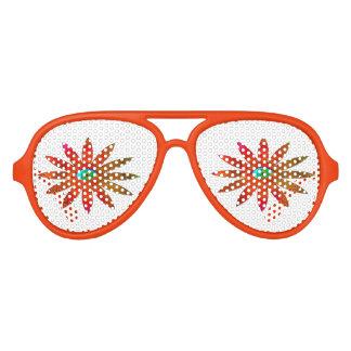 Flor anaranjada del ojo lentes de fiesta