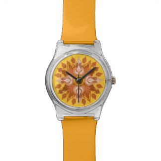 Flor anaranjada del sol de Paisley Reloj De Mano